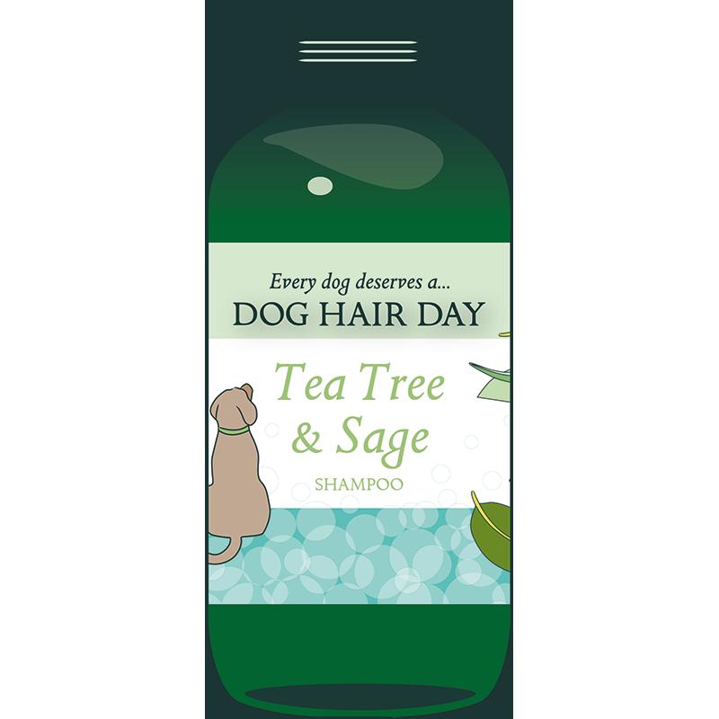 Drawing of bottle of Dog Hair Day Tea Tree & Sage shampoo
